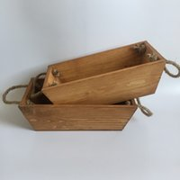 Wholesale Wooden Flower Boxes Wholesale - D27XW14XH9CM New Wooden Planter Boxes Wooden Flower Boxes Brown wood flower planter with Rope Handle SF-152