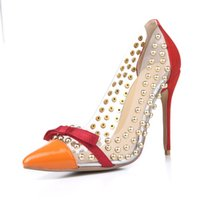 Wholesale Party Cute High Heel - Fashion PVC Clear Pointed Toe Women Pumps Rivets Thin High Heels Gold Studs Cute Bowtie Wedding Party Shoes lady Chaussure Femme