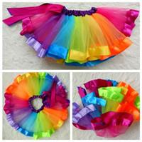 Wholesale Rainbow Tulle Skirt Kids - Baby Girls Skirt Summer Rainbow Bow Tulle Kids Tutu Skirts Fashion Children Dance Skirt Cute Pompon Gauze Girl Skirts C1674
