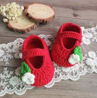 Wholesale Hand Knitted Baby Shoes - Baby Girls Shoes Autumn hand-knitted first walkers Flower crochet Newborn soft bottom Shoes one hundred days Babies Gift C1837