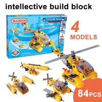 Wholesale Soft Building Blocks - BAISIQI Soft build block Helicopter Rescue team intellective building blocks sets+Mini action figure 84PCS Assembly blocks kids toys 4models
