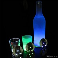 Wholesale Led Bottle Coasters - LED Flashing Light Bulb Bottle Cup Mat Coaster For Club Bar Party Gift 3M Sticker Cup Mug Coaster