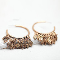 Wholesale Retro Circle Earring - YC Fashion Bohemia Retro Style Parallelogram Tassel Alloy Circle Dangle Piercing Earrings Original Design Unique Style for Women Girls' Gift
