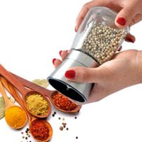 Wholesale Stainless Steel Salt And Pepper Mill Glass Body Spice Salt and Pepper Grinder Kitchen Accessories Fashion Cooking Tool CCA6879
