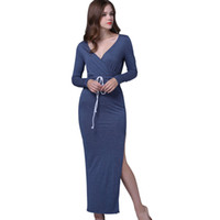 Wholesale Tight Fitting Party Dresses - Sexy Dress Bodycon Sheath Dress Long Sleeve Party Sexy Dresses Women Clothing Back Sleeve Slim Fit Robe Sexy Pencil Tight Dress Vestidos