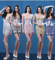 Wholesale Short Evening Dresses Silver - Evening dress 2016 new explosion V deep perspective sexy dress nightclub handmade Diamond Dress and short dress
