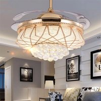 Wholesale electric retractable - Modern Alloy Crystal LED Ceiling Fan Light Invisible LED Light Electric Fan Chandelier Retractable Belt Folding pendant lamp For Bedroom