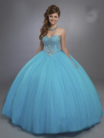 Famous Designer Quinceanera Dresses 2017 Mary's con Sheer Bolero e Basque Waistline Light Sky Blue Sweet 16 Abito su misura