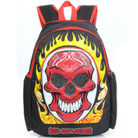 ingrosso borse di roccia rosse-Zaino Red Green Skull Zaino cool punk Rock street daypack Zaino di qualità Zaino outdoor Zaino sportivo