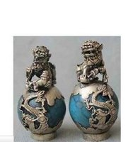 Wholesale Dragon Phoenix - Brass Crafted Human Vintage 1 Pair Tibet Silver Dragon Turquoise Phoenix Ball Foo Fu Dog Guardion Lion Pair Statue Crafts Tibetan Silver