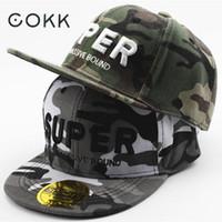 chapéus do exército dos meninos venda por atacado-Atacado-COKK Crianças Boné de Beisebol Para Menino Bordado Super Exército Camuflagem Hip Hop Cap Snapback Ajustável Chapéu Crianças Viseira do Sol de Verão