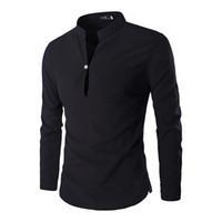benzersiz yaka tasarım gömlek toptan satış-Toptan Satış - Erkek Casual Gömlekler 2016 Yeni Mandarin Yaka Benzersiz Tasarım Slim Fit Gömlek Chemise Homme Camisa Masculina M-XXL ZC124