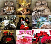 Wholesale Tiger Sheet Set - Wholesale-dropship polyester 3D flower tiger lion leopard Monroe rose bedding bed sheet set bedclothes duvet cover set bedding set