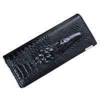 Wholesale Genuine Crocodile Leather Wallet Women - Wholesale- FGGS Hot Women Wallet Female 2017 Coin Purses Holders Genuine Leather 3D Embossing Alligator Ladies Crocodile Long Clutch Wall