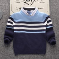 Wholesale Sweater Boys Stripes - 2017 Autumn Winter Shirt collar stripe Kids Boys Sweater Children Clothing Fight color boy Cotton thick wool top Jumper Pullover