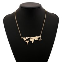 Fashion World Map Collier Gold Color Big Long Statement Joker Vente en gros Bohemian Maxi Alliage Silver Plated Pendentif Colliers Vintage Women