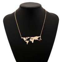 Wholesale Big World Map - Fashion World Map Necklace Gold Color Big Long Statement Joker Wholesale Bohemian Maxi Alloy Silver Plated Pendant Necklaces Vintage Women
