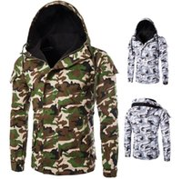 Wholesale Camouflage Winter Coats For Men - Men's cotton wadded jacket camouflage pattern printing hooded zipper Slim Fit For Man winter Casual Jackets coat free shipping 2017 Fashion