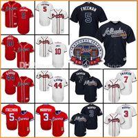 Wholesale Atlanta Baseball Jersey - Men's 2017 Commemorative Patch Atlanta Braves baseball jerseys Dale Murphy Freddie Freeman Dansby Swanson Chipper Jones Hank Aaron jersey