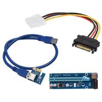 pci e kabel 1x 16x großhandel-Beste Qualität PCI-E PCI E Express 1X bis 16X Riser Card + USB 3.0 Extender Kabel mit Netzteil für Bitcoin Litecoin Miner 60CM
