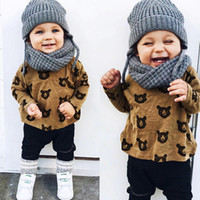 Wholesale Hooded Bear Suit - Children clothing sets spring Baby Boys 2 pieces suit set child set Bear cartoon long sleeve shirts black trousers free shipping