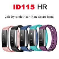 bluetooth armbandanzeige großhandel-Sport Smart Band Bluetooth Uhr Veryfit ID115 HR Pulsmesser Fitness Tracker OLED Display Schrittzähler Armband für iPhone Android