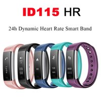 Wholesale Oled Iphone - Sports Smart Band Bluetooth Watch ID115 HR Heart Rate Monitor Fitness Tracker OLED Display Pedometer Wristband for iPhone Android Phone