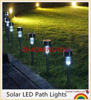 dış aydınlatma toptan satış-SİZ 10 ADET yüksek kalite su geçirmez güneş lambaları beyaz ABS Spot Işık Güneş LED Yolu Işık Açık Bahçe Çim aydınlatmaları