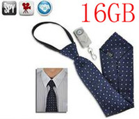 Wholesale Tie Spy Hidden Camera - Free shipping spy 16GB Hidden camera pinhole cam Neck Tie mini Camera 1920 x 1080 with Wireless Remote control