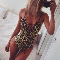 Wholesale Leopard Sexy Bodysuit - New Leopard Print Bodysuit Women Lace Up Low Cut Sexy Bodysuits Skinny Catsuit Spaghetti Strap Jumpsuit Playsuit