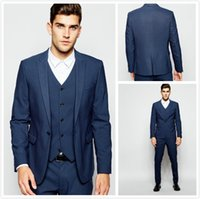Costumes de mariage bleu foncé Handsome One Button Mens costumes Slim Fit smokings marié Custom Made Formal Prom Suits (veste + pantalon + gilet + cravate) 2017