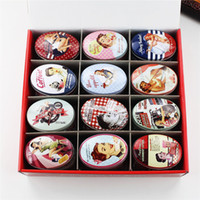 Wholesale Printed Tin Boxes - 24pcs box Small Storage Box Vintage Lady Printing Oval Shape Candy Box Handmade Soap Case Mini Tin Jewelry Box Small Pill Case