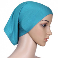 Wholesale Underscarf Headband - Wholesale-1pc Muslim Islamic Arabian hijab tube underscarf veil robe abaya inner caps hats Modal Stretch Elastic Adjustable 30x24cm retail