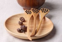Wholesale accessories wood carvings resale online - Marki New Cute Wood Creative Carving Honey Stirring Honey Spoons Honeycomb Carved Honey Dipper Kitchen Tool Flatware Accessory pc h62
