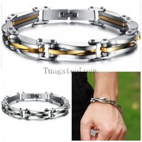 Wholesale Bracelets Bicycle Chain - 22*0.9cm Punk Style 316L Stainless Steel Two Tone Mens Bracelet Link Chain Biker Bicycle Jewelry Bracelets pulseira masculina