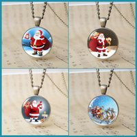 Wholesale Merry Christmas Pendant - 24pcs 6 designs trendy Merry Christmas charm pendant jewelry father Christmas necklace reindeer deer The sled snowman new year gift T1137