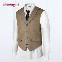 Wholesale Mens Adjustable Belts - Wholesale- Khaki Vest Adjustable Belt Loops Mens Vests And Pants Set Men Brown Suits For Weddings 2pc Prom Sets Colorful Mens Suits VS38