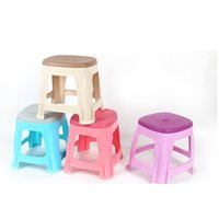 Wholesale Colored Plastic Little Bench Thick PP With holes Stool Living room Kitchen Plastic Pedal Super Stable Square Stool