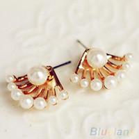 Wholesale Earrings For Pierced Ears - Fashion Front & Back Earings Pearl Ear Earbobs Ear piercing Studs earrings for women 1QFV
