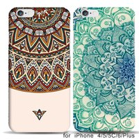 Wholesale Iphone 4s Aztec Covers - 2017 New Vintage Aztec Tribal Doodle Case for Capinhas iPhone 4s 5c 5s 6 6s Plus capa funda Blue Flower Floral Girl's Cover