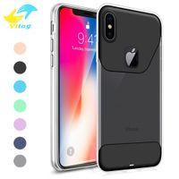 iphone cristal duro para trás venda por atacado-Dual color macio tpu rígido pc voltar phone case ultra fino cristal transparente para samsung s8 s8 além de note8 iphone 6 7 8 além de x