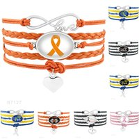 Wholesale Wholesales Hope Bracelets For Cancer - (10 PCS lot) Infinity Love Warrior Down Syndrome Brain Cancer Awareness Hope Butterfly Ribbon Heart To Heart Leather Bracelets for Men Women
