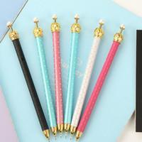 Wholesale Korean Crown Pen - Cute Cartoon Metal Crown Gel Pen Kawaii Lovely Korean Stationery for kids School supplies Gift