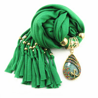Wholesale zinc alloy resin for sale - Group buy New Design Solid Polyester Rose Flower Zinc Alloy Resin Water Drop Pendant Long Necklace Scarfs
