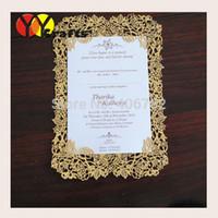 Wholesale Menu Wedding - Wholesale- wholesale wedding accessory rose design gold ivory laser cut wedding invitation card menu card