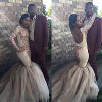 alfombra dorada para fiesta de graduación al por mayor-Sexy espalda abierta Vestidos de baile Sirena 2017 de oro rosa con lentejuelas mangas largas acanalada Tul Red Carpet Vestidos de noche Moda africana vestidos de fiesta