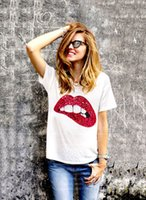 Wholesale Star street pats the same kind of lips handmade beads pure cotton t shirts