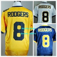 Factory Outlet- # 8 Aaron Rodgers Jersey Branco Azul Amarelo Stitched Califórnia Golden College Futebol Jersey