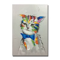 Wholesale Cheap Items Free Shipping - Free shipping 2016 cheap price promotional items hand painted animal cat oil painting beautiful wall hanging pictures