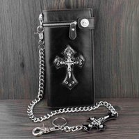 Wholesale genuine money purses for men - Punk Rock Skull Cross Brown Black Mens Leather Long Card Money Wallet Purse With Chain for Gift